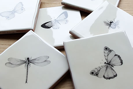 Hand Painted Bugs & Insect Tiles