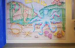 Underwater Scene Princess Royal Hospital. The installed mural in the operating recovery suite